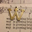 """Gold Tone Letter """"W"""" Charm"""