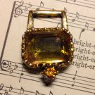 Vintage Orange Glass with Gold Setting Jewelry Finding