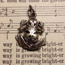 Intricate Carved Design Silver Frog Necklace Pendant