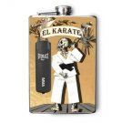 "Stainless Steel Flask - 8oz., Skeleton with ""El Karate"" Banner"