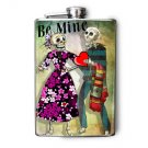 Stainless Steel Flask - 8oz., Dancing Day of the Dead Couple