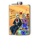 Stainless Steel Flask - 8oz., Day of the Dead Couple with Square Design