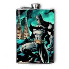 Stainless Steel Flask - 8oz., Batman on Teal Background