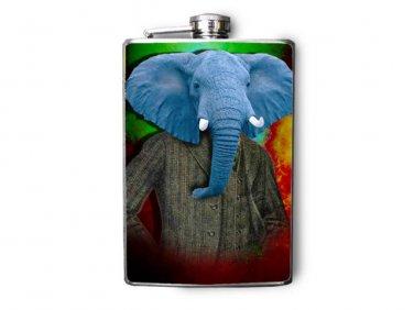 Stainless Steel Flask - 8oz., Elegant Elephant Wearing Suit
