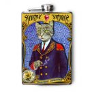 "Stainless Steel Flask - 8oz., Fancy Cat in Captains Suit ""Showtime"""
