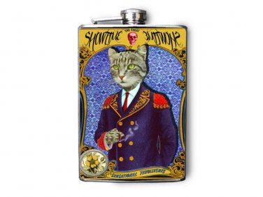 """Stainless Steel Flask - 8oz., Fancy Cat in Captains Suit """"Showtime"""""""