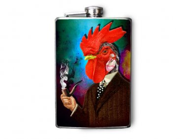 Stainless Steel Flask - 8oz., Elegant Smoking Rooster Wearing Suit