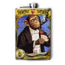 "Stainless Steel Flask - 8oz., Fancy Monkey in Suit ""Sideshow"""