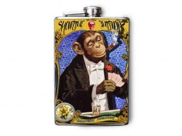 "Stainless Steel Flask - 8oz., Fancy Monkey in Suit ""Sideshow"""