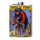 "Stainless Steel Flask - 8oz., Monkey on Bicycle ""ShowTime"" Banner"