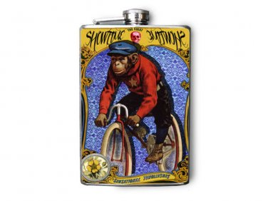 """Stainless Steel Flask - 8oz., Monkey on Bicycle """"ShowTime"""" Banner"""