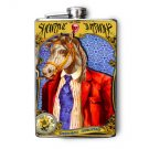 "Stainless Steel Flask - 8oz., Horse in Red Suit ""ShowTime"" Banner"