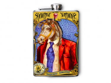 """Stainless Steel Flask - 8oz., Horse in Red Suit """"ShowTime"""" Banner"""