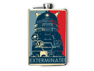 """Stainless Steel Flask - 8oz., Robot with """"Exterminate"""" Banner"""