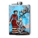 Stainless Steel Flask - 8oz., Day of the Dead Proposing Couple Blue Background
