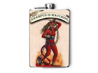 Stainless Steel Flask - 8oz., Krumpus Print with Banner