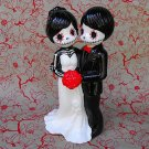 Day of the Dead, Wedding Cake Topper with Red Flowers