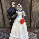 Day of the Dead, Wedding Cake Topper with Veil and Red Flowers