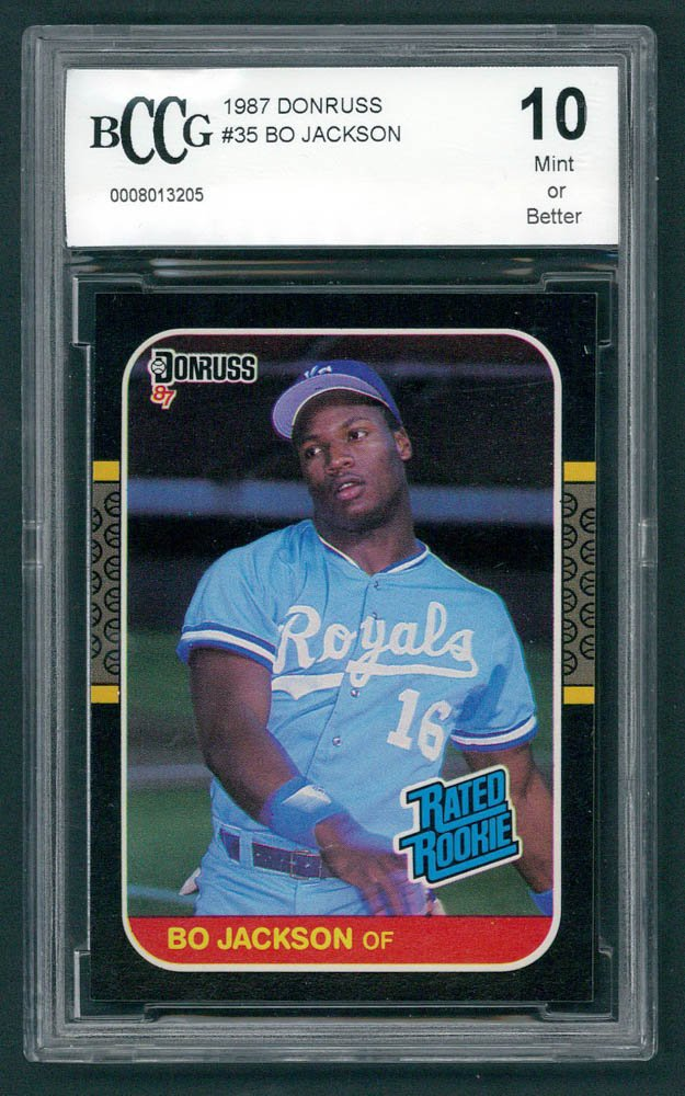 Retro Baseball Card, Bo Jackson Rookie Card, 1987 Donruss #35, BCCG 10