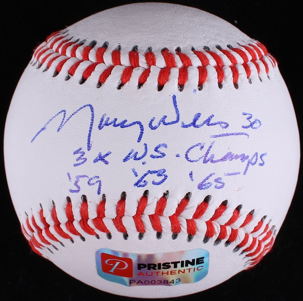 Maury Wills Signed Baseball Inscribed �3x WS Champs �59 �63 �65� PA COA