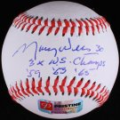 "Maury Wills Signed Baseball Inscribed ""3x WS Champs ""59 ""63 ""65"" PA COA"