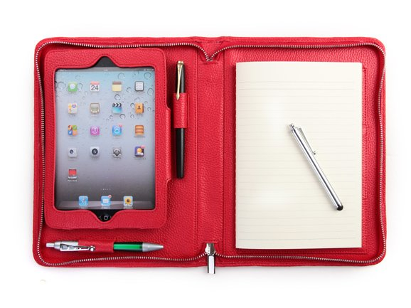 Lady Red mini Apple Leather Purse with Writing Pad holder for mini iPad Carrying