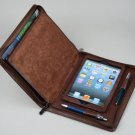 Coffee Leather iPad mini zipper Portfolio Case with Notepad Holder for iPad mini Business Carrying