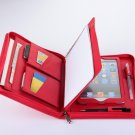 Red iPad mini Leather Carrying Portfolio Case with Paper Pad for Lady Business Carrying