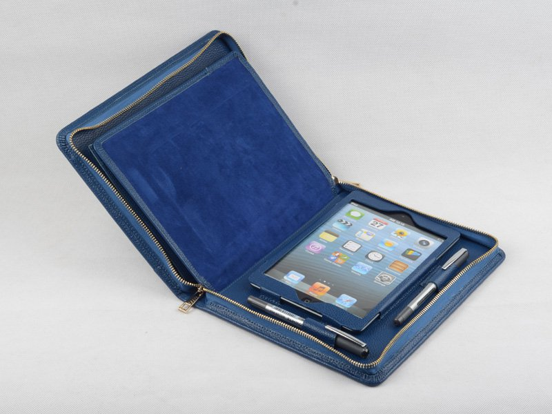iPad mini Blue Leather Portfolio Case with Paper Holder for Business Carrying