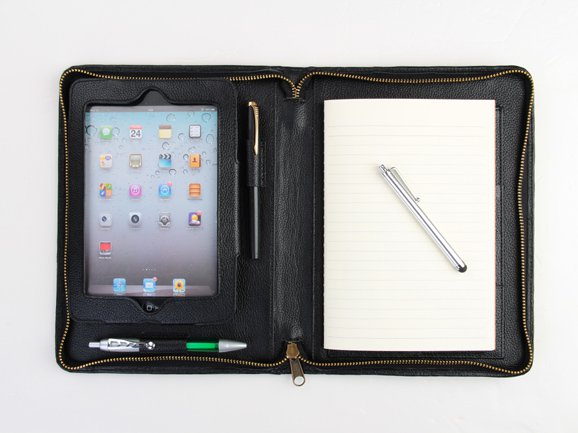 mini Portfolio Case with Paper Pad for iPad mini 4 in Black Leather mini Wallet Case