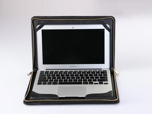 Macbook Pro with Retina 13 inch Leather Business Zipper Around Briefcase for Apple Mac Pro Retina