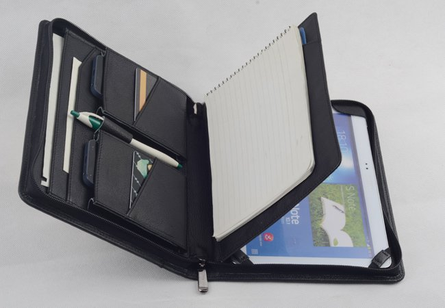 Galaxy Note 10.1 Black Leather Case with Paper Pad for Samsung Galaxy Tablet carrying Portfolio