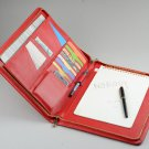 Red Portfolio Case,A4 Genuine Leather Carrying Portfolio,Letter size zipper Writing Notepad
