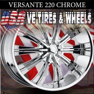 VERSANTE 220 22X9.5 5.115/127 ET+30 CHROME WHEELS  FORD EXPLORER 4WD JEEP CHEROKEE