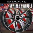 ZEN RACING X12 17X7 5.100/114.3 ET+38 BLK M/FM  JETTA HONDA CIVIC DODGE NEON