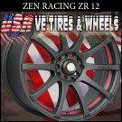 ZEN RACING ZR12 16X7 4.100/114.3 ET+38 FL BLK PSRT  HONDA CIVIC NISSAN SENTRA  DUB