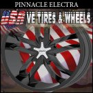 PINNACLE ELECTRA 18X7.5 5.100/114.3 ET+40 BLACK CHROME CAP  HONDA CIVIC CHRYSLER SEBRING DUBS