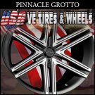 PINNACLE GROTTO 18X7.5 4.100/114.3 ET+40 FL BLK MF  HONDA FIT CHEVROLET AVEO KIA RIO
