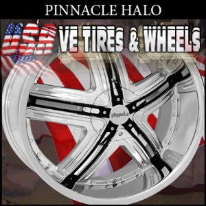 PINNACLE HALO 17X7 5.108/115 ET+40 CHR BLK INSERT  FORD TAURUS  CADILLAC STS LINCOLN