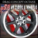 PINNACLE OCTANE 17X7 4-100/114.3 ET+40 BLK ML ACURA INTEGRA  KIA OPTIMA 4LUG