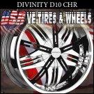 DIVINITY D10 26X10 5.115/120 ET+20 CHR BLK INS  CHRYSLER 300C  DODGE CHARGER CAPRICE