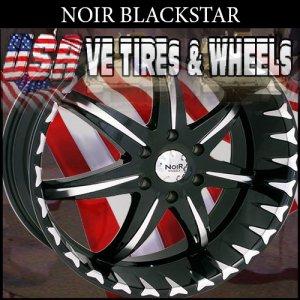 NOIR RIMS BLACKSTAR 22X9.5 5.120 ET+40 BLK MF ST  LAND ROVER  BUICK LACROSS