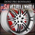 DONZ BONNANO STAGGERED WHEELS 20X8.5 -20X10  BLK SS/L DRILL FOR MOST VEHICLES
