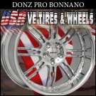 DONZ BONNANO STAGGERED 20X8.5 20X10 CHROME WILL DRILL FOR MOST VEHICLES