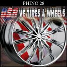 PHINO 28 28X10 6.135/139.7 ET+25 CHROME RIMS  FORD EXPEDITION  CHEVY TAHOE