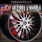 "VERSANTE 213 20"" BLK MACHINE FINISH SIL TIP WHEELS & TIRES  BMW 3 SERIES  BUICK"