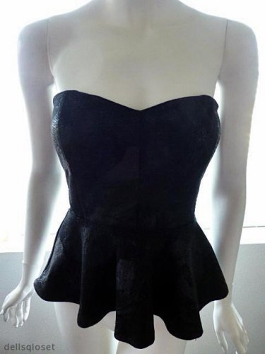 BEBE Black On Black Graphic Strapless Peplum Top - Size Small Petite