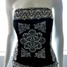 WHITE HOUSE BLACK MARKET Black & White Strapless Bustier Bold Print Top - Size 8