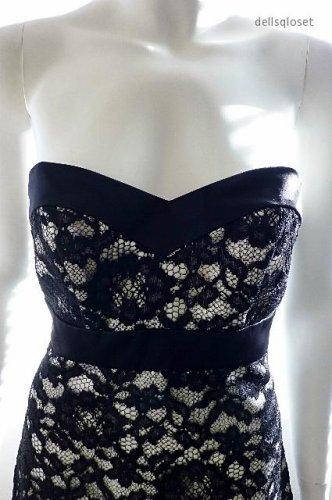 WHITE HOUSE BLACK MARKET - Black Lace Strapless Evening Dress - Size 0