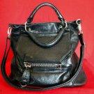 "L.A.M.B. ""Vesper"" Large Black Leather Satchel Bag"